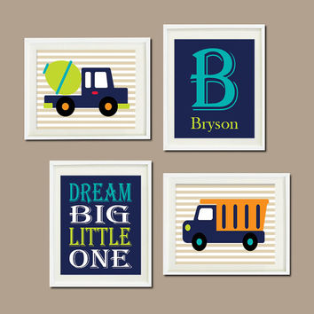 CONSTRUCTION WALL ART, Dream Big, Trucks Nursery, Navy Green Orange Boy Set of 4 Prints Or Canvas Boy Playroom Decor Big Boy Bedroom Decor