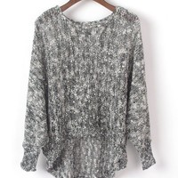 Sequin Dip Hem Grey Knitwear