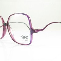 Vintage Eyeglasses  , Luxottica , Italy , Purple , 1980s , Large , Geek , Hipster ,  New Old Stock