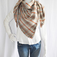 Plaid Blanket scarf / Soft Oversized Scarf Blanket / Flannel Shawl / Fall, Winter Wrap / Zara Insired / 2 styles available