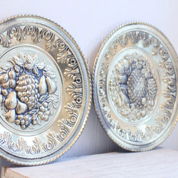 Peerage Brass Fruit Plates - Vintage English Wall Decor Metal Relief