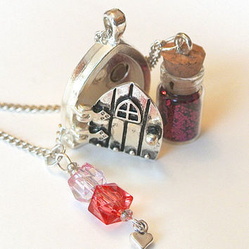 Fairy Wish Door Locket- Fairy Dust Mini Bottle Necklace and Fairy Door Charm with Magical Saying Inside, Beads, Key Charm