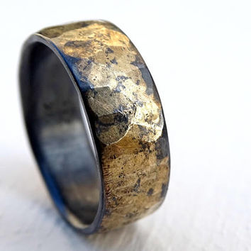 Mens Wedding Band Mens Wedding Ring Oxidized Ring Black Gold Ring Rustic Ring Unique Wedding Band Viking Wedding Ring Bold Man Wedding Bands