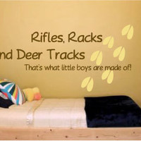 Rifles Racks and Deer Tracks Vinyl Wall Art Decal