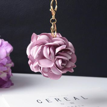 Leather strap Rose Flowers Keychain