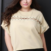 Horizontal Lace-Up Boxy Crop Top