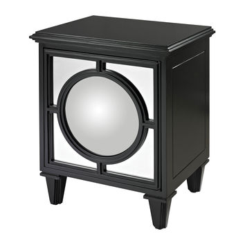 136-005 Mirage Gloss Black Cabinet With Convex Mirror By  - Free Shipping!