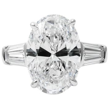Tiffany & Co. 5.13 Carat D VS2 Oval Classic Diamond Platinum Ring GIA Certified