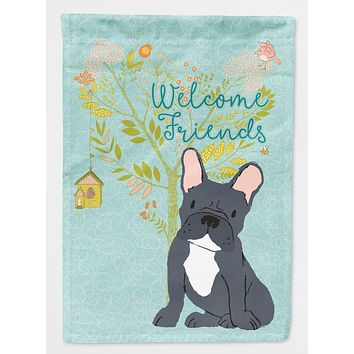 Welcome Friends Black French Bulldog Flag Canvas House Size BB7632CHF