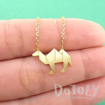 Camel Origami Shaped Pendant Necklace in Gold