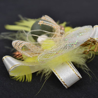 Handmade volume DIY blank for brooch making with feathers and ribbons for Easter