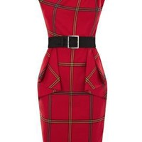 Bqueen Graphic Check Dress Red K476R