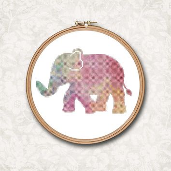 Elephant Rainbow Watercolor Cross Stitch Pattern