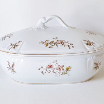 Antique French Provincial Turine Large Covered Turine Bowl Brown Transferware Covered Dish Large Covered Floral Baking Dish