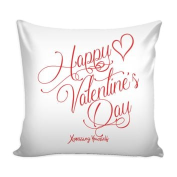 Pillow with Insert - Heavyweight Faux Linen Burlap - Happy Valentine's Day
