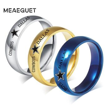 6mm Wedding Rings Silver Blue Gold Color Stainless Steel Dallas Cowboys Customized Comfort Fit Ring For Man And Woman's Anillos