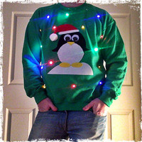 Light-up ugly Christmas sweater! - Christmas Penguin!