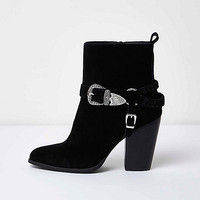 Black western buckle ankle boots - boots - shoes / boots - women