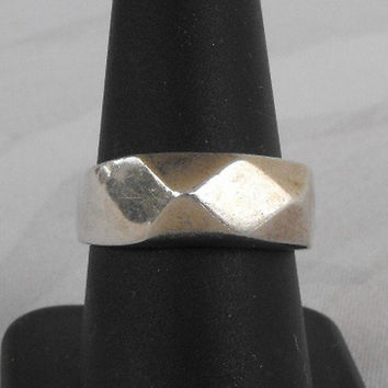 Mexican Sterling Silver Faceted Band Ring Size 9 Vintage Jewelry