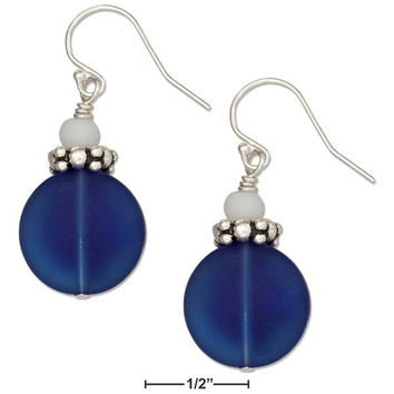 STERLING SILVER COBALT DEEP OCEAN BLUE ROUND SEA GLASS EARRINGS WHITE GLASS BEAD