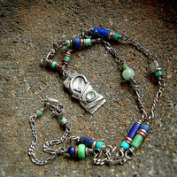 Blue Necklace .Lapis & Turquoise .Handmade Beads .Sterling Silver Metalwork
