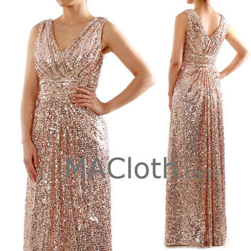 Straps V Neck Long Sequin Rose Gold Bridesmaid Dress Formal Evening Gown
