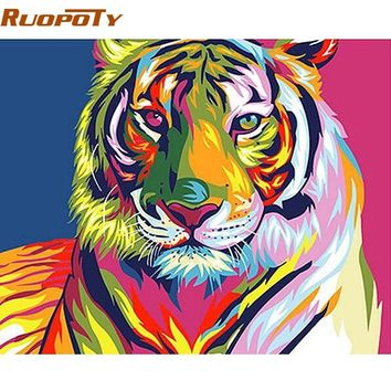 RUOPOTY diy frame Colorful Tiger DIY Painting By Numbers Animals Calligraphy Painting Modern Wall Art Canvas For Home Decors Art