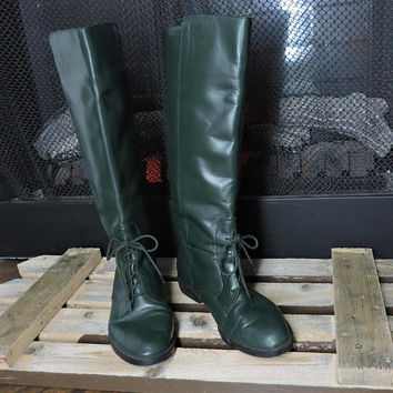 Vintage hunter green leather riding boots / size 7.5 / tall lace up leather boots / Brazilian made equestrian boots / Leather dressage boots