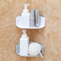 Hot Sale !!!  Plastic Suction Cup Bathroom Kitchen Corner Storage Rack Organizer Shower Shelf