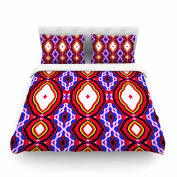 "Dawid Roc ""Inspired By Psychedelic Art 2""  Red Abstract Featherweight Duvet Cover"