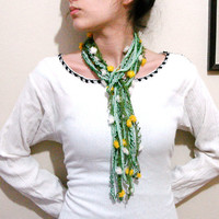 Crochet beaded green Long Necklace Crochet jewelry lariat scarf with ribbon flowers
