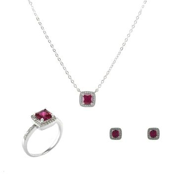 Red Square Cut Ruby 3 Piece Gift Set of Earrings, Necklace and Ring