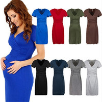 Elegant Women's Maternity Mini Dress ♥ V Neck Pregnancy Tunic Size 8-12_TQ