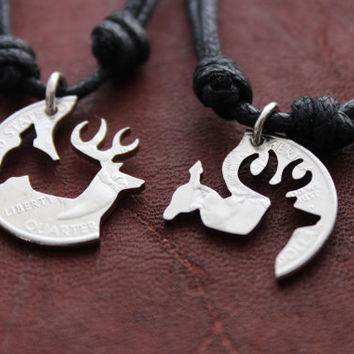 Doe and Buck Necklaces for Couples, interlocking Necklaces, Cut Coins