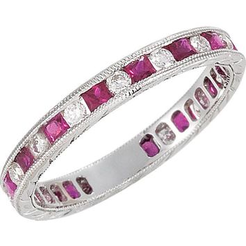 Diamond and Ruby Gemstone Eternity Band - Alice