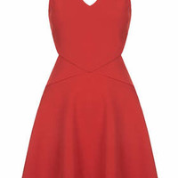 Textured Cut-Out Skater Dress - Red