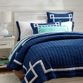 Emma Ribbon Trim Quilt + Sham, Royal Navy