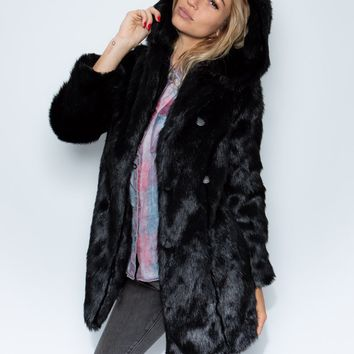 Hooded Black Panther Collector Edition Faux Fur Coat