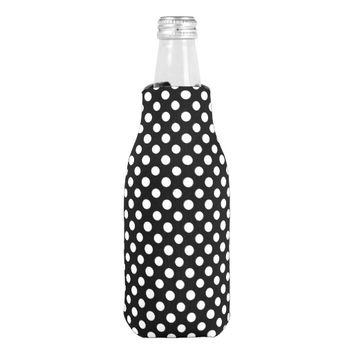 Black and White Polka Dot Pattern Bottle Cooler