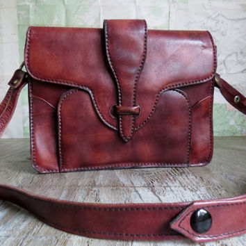 1960's Bohemian leather bag purse handbag vintage shoulder or cross shoulder  bag Boho