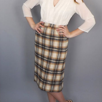 Vintage Classic 70s does 40s / 50s Wool Plaid Pencil skirt Tan blue Striped Wool Retro Classic Preppy School Girl Size 10 Medium English