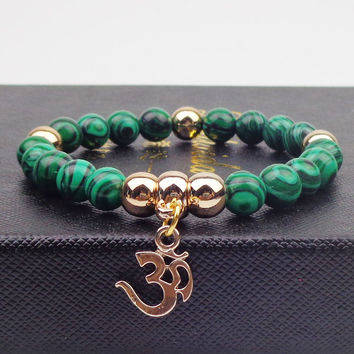 Gold plated OM with Natural stone Bracelet femme Bangles Elastic Rope Chain yoga Bracelets For Women Jewelry Synthetic malachite