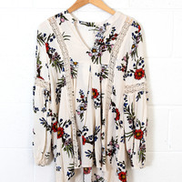 Faded Floral Tunic, Beige