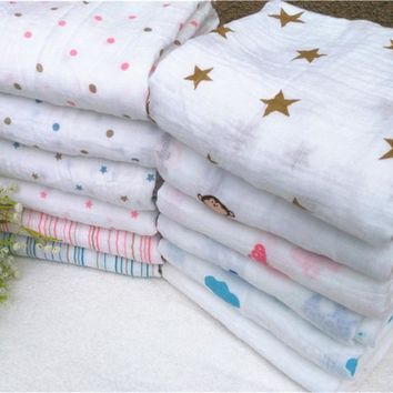Aden Anais Muslin Baby Swaddling Blankets Newborn Infant 100% Cotton Swaddle Towel Famous Multifunctional 120x120cm/47*47''