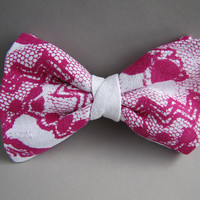 Lace Bow Tie (clip on) in Fuchsia, linen, silkscreen LIMITED EDITION