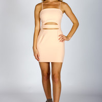 Peach Slit Mini Dress