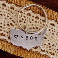 Love is Greater than Distance Key Chain. Custom Long Distance Friendship. Long Distance Relationship.Best Friend Gift.