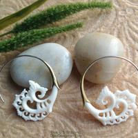 """Tribal Earrings, """"Flora Spirals"""" Naturally Organic, Bone, Brass and Sterling Silver Posts, Hand Carved"""