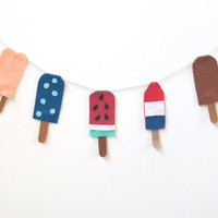 Awesome summer popsicle felt banner with twin pops, blueberry pop, watermelon pop, bomb pop and fudge pop