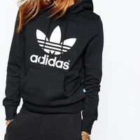 "Black ""Adidas"" Print Hooded Pullover Tops Sweater Sweatshirts"